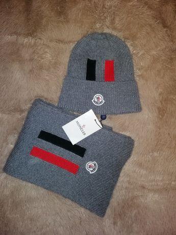 Продам новый комплект шапка и шарф Moncler серого цвета, спортивный фа