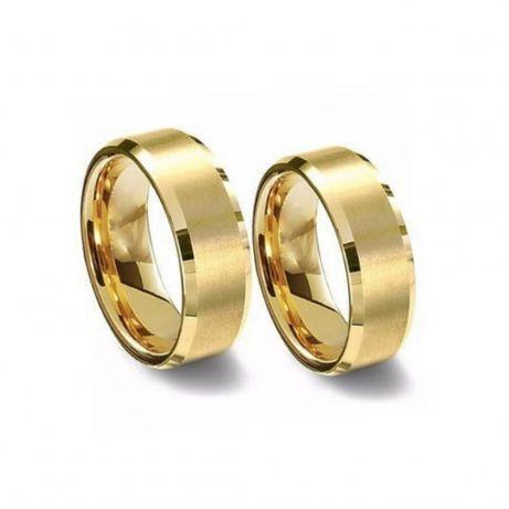 Para Eleganckich Matowych Złotych Obrączek Ślubnych