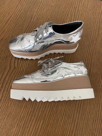 Sapatos senhora prateados plataforma