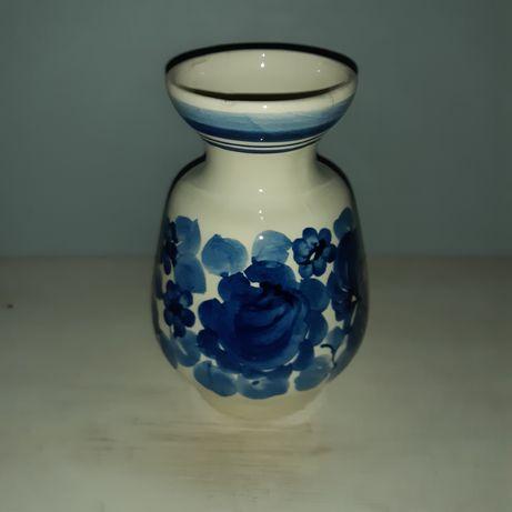 Wazonik Włocławek, niebieskie kwiaty, ręcznie malowane