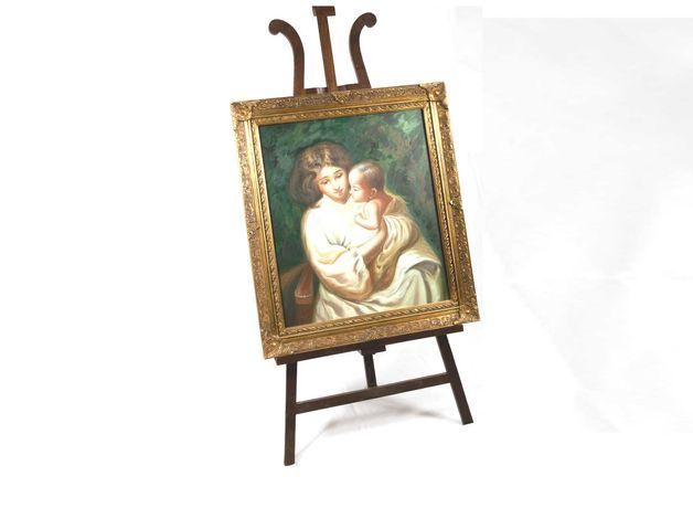 Pintura de mãe com bebé ao colo