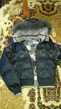 Куртка курточка пухова пуховик унісекс  р.152 см зимова