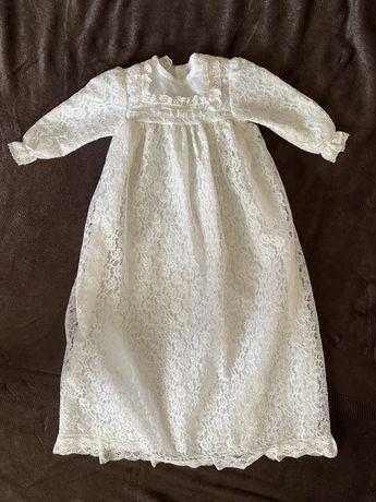 платье на крестины удлинненое 0-3 месяца