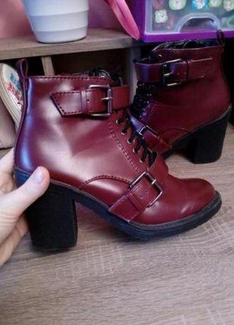 Бордо марсала ботинки чобітки черевики на весну пряжки шнуровка new lo
