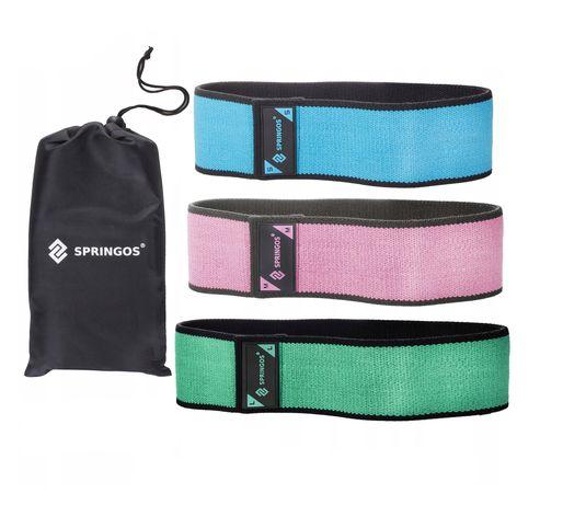 Резинка для фитнеса и спорта тканевая Springos Hip Band 3 шт