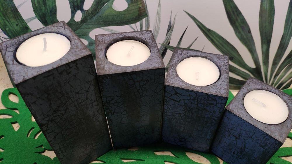 Decoupage zestaw świeczniki drewniane 4szt oryginalne prezent Święta Wrocław - image 1
