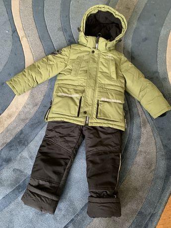 Детский зимний комбинезон Kiko, био-пух, отделка мех енота, р 104