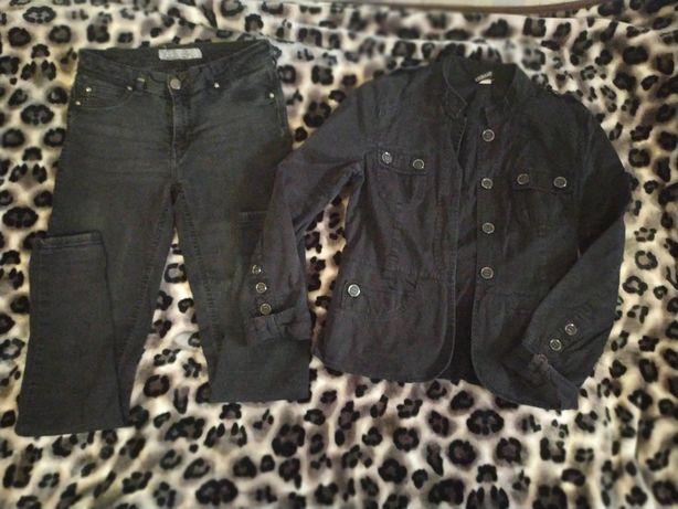 Джинсы черные скинни джинсовка в подарок