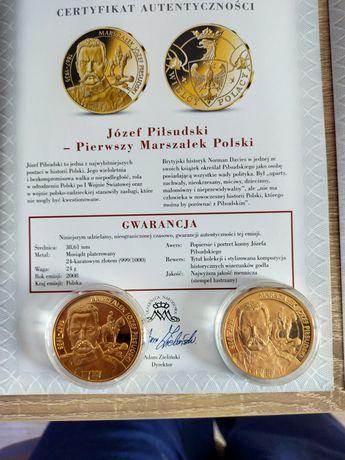 Medale Wielcy Polacy 2X Piłsudski z ceryfikatem