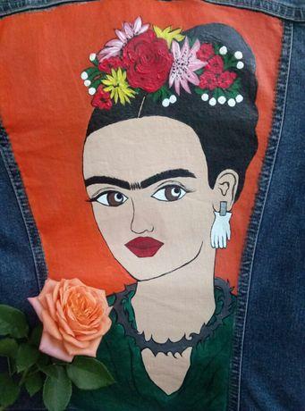 Джинсовая куртка (одежда,джинсовка) с рисунком ручной работы