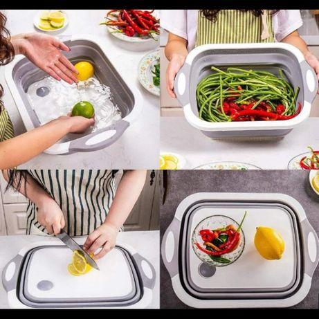 Складная разделочная доска для мытья и резки овощей cut board 2in1