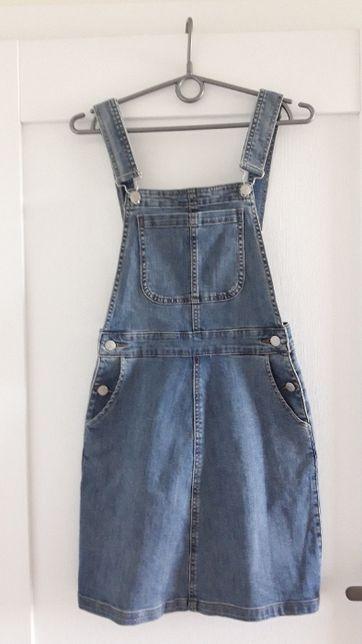 sukienka jeansowa ogrodniczki XS 34