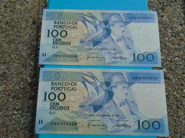 Notas Raras ( Número de série seguidos ) 100 escudos Fernando Pessoa