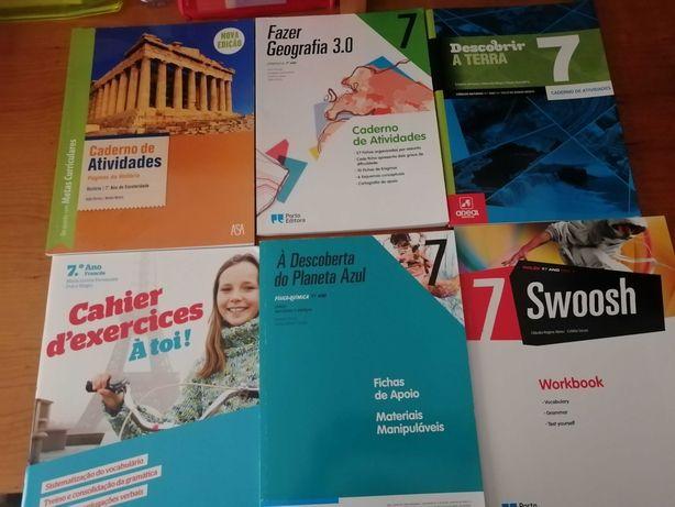 cadernos de atividades HIST/FQ/CN/FR/ ING/GEO  7º ano