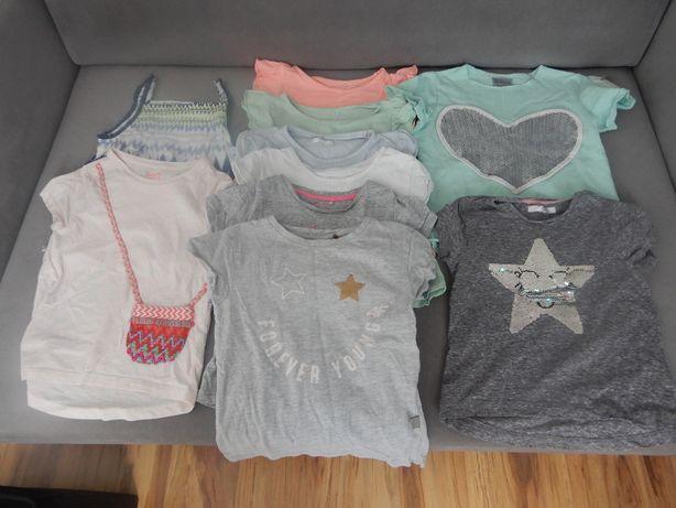 paka markowych ubranek dla dziewczynki na lato 33 sztuki od 104 do 116