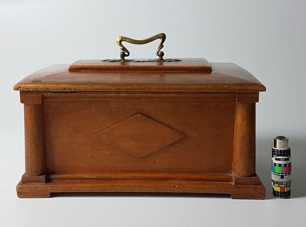 Zabytkowa szkatułka, kasetka na biżuterię, drewno naturalne, secesja
