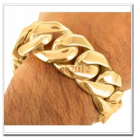 Złota bransoletka,bransoleta męska oryginalna stal 316l nowa ITALY