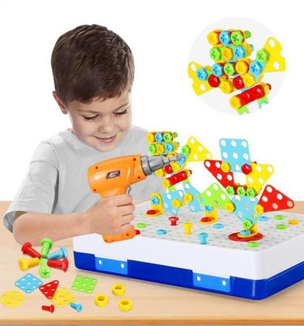 Детский конструктор скрутка Puzzle Peg 224 детали с шуруповертом