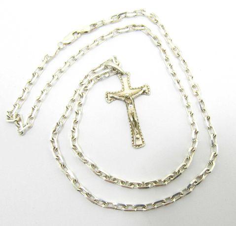 Srebrny męski łańcuszek z Krzyżykiem ankier