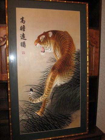 """Картина.Шелкография""""Тигр"""".Рама.Паспорту.112.5 см на 66.5 см."""