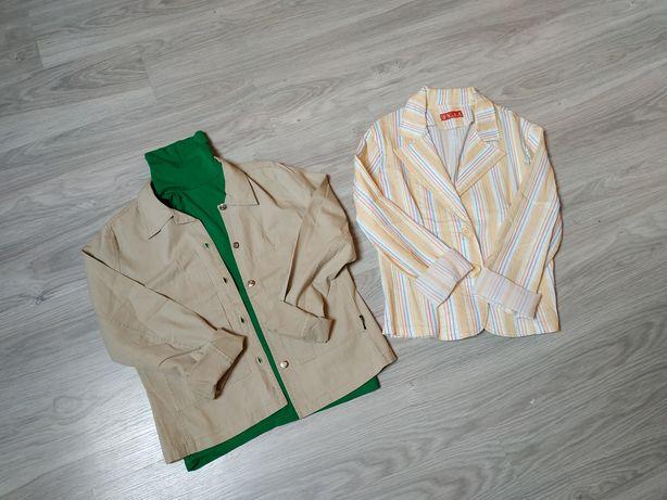 Marynarka damska żakiet damski bawełna beż narzutka L-XL, 40