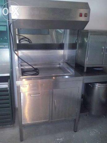 Móvel inox p/ escorrer e manter batata frita quente 850x850x1800 mm