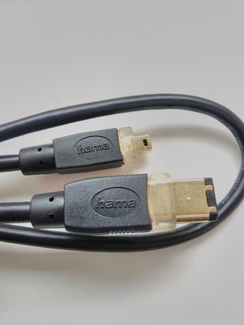 Kabel marki HAMA FireWire oryginalny przewód komputer wtyki 4 i 6 piny