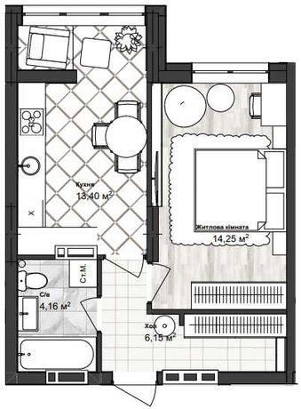 Однокомнатная квартира 38 кв.м ул.Ак.Сахарова  VV