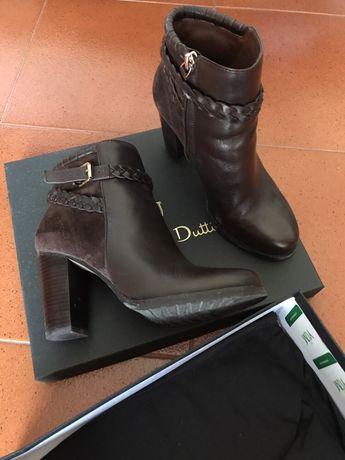 Botas castanhas pele Massimo Dutti