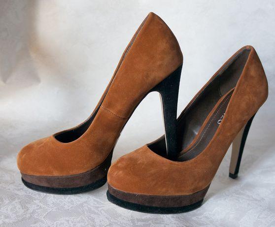 Туфли коричневые рыжие шпилька 35-36 р классические каблук замша синт.