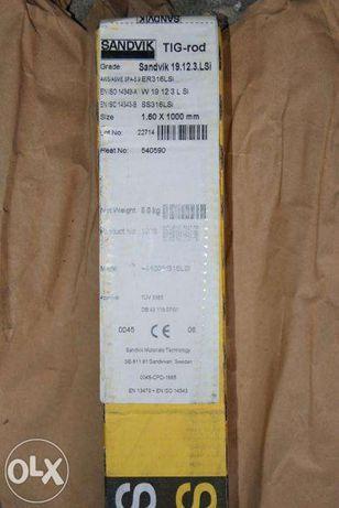 Drut pręt spawalniczy TIG nierdzewny INOX 1,6mm 5kg Sandvik 19.12.3