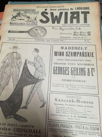 """Stara gazeta, pismo tygodniowe """"Świat"""" z 1924 roku"""