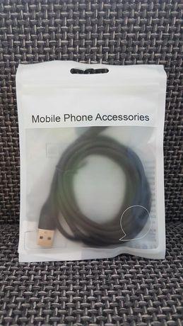 Kabel YKZ Type-C USB-C 1.8m 3A Oryginalny czarny oplot NOWY