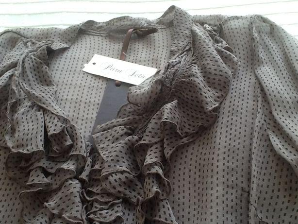 Camisa com folho,de seda natural,nova com etiqueta