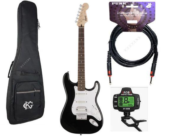 Zestaw Gitara Squier Bullet HSS BLK + pokrowiec + kabel + tuner!!
