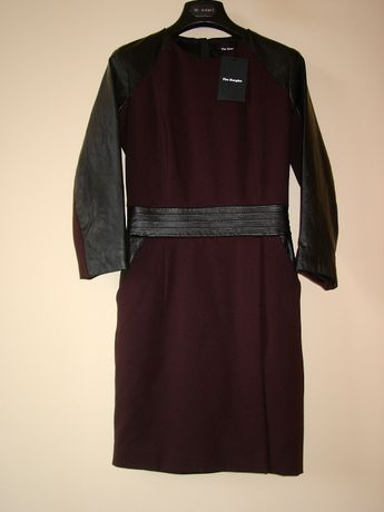 THE KOOPLES, czarna sukienka, wstawki skóra naturalna, rozmiar 32