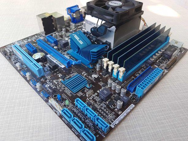 Комплект Материнка AM3 ASUS USB 3.0 + 4 ядра 3.0GHz + 8Gb DDR3