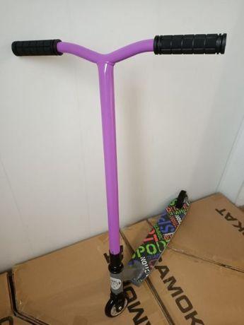 Усиленный! Трюковый самокат РТ-700 Серо-Фиолетовый до 100 кг, юлюминий