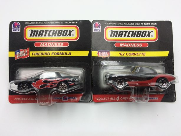 Matchbox Taco Bell Corvette Firebird resoraki USA rok 1998