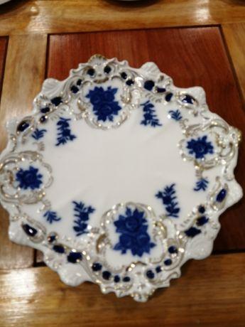 Prato Porcelana vintage Victoria com filet ouro