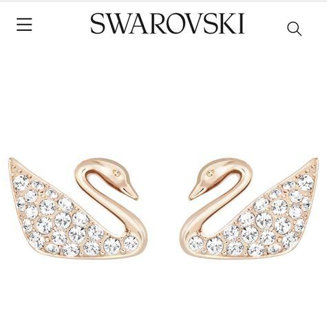 Серьги Swarovski swan piersed earrings gold rose tone plated оригинал