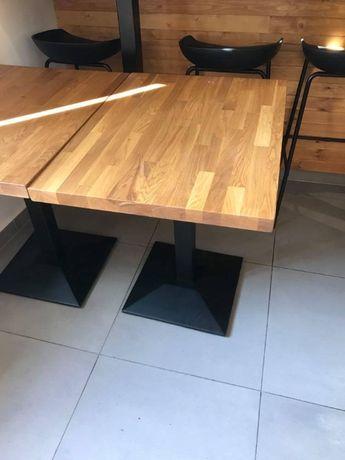 Stół dębowy z żeliwną podstawą