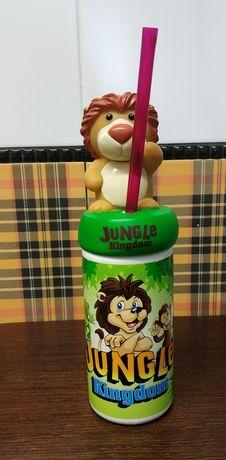 Бутылочка детская с трубочкой jungle kingdom,бутилочка дитяча