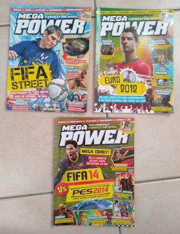 3 Revistas Mega Power com o Cristiano Ronaldo e o Messi