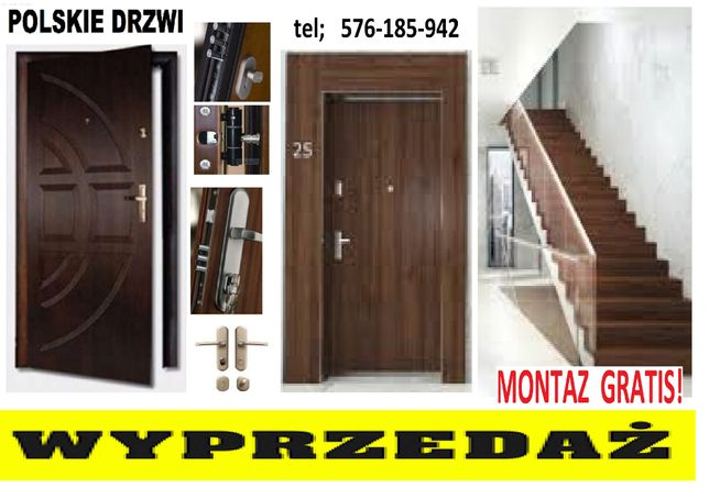 wyciszone drzwi z MONTAŻEM ,wejściowe-zewnętrzne ,WYPRZEDAŻ