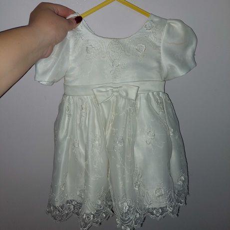 Śliczna sukienka chrzest 98 ecru