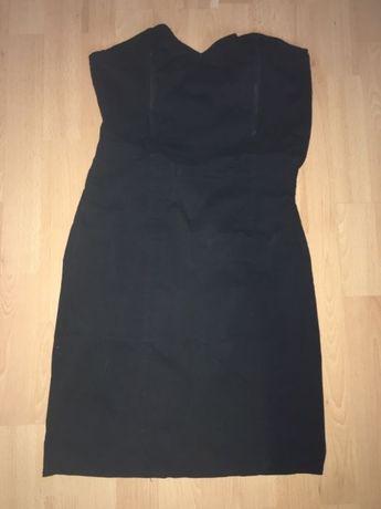 Czarna sukienka z dwoma wzmocnieniami na piersi M / L Na imprezę party