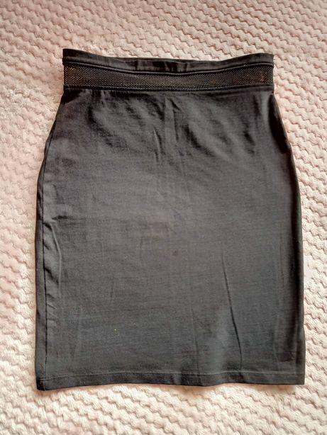 Sinsay spódniczka spódnica ołówkowa czarna z siateczką na brzuchu r. S
