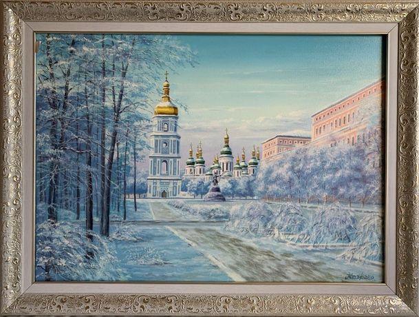 """Живопись.Картина маслом.""""Зимний Софиевский собор"""""""