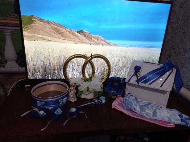 Продам свадебную атрибутику в синем цвете